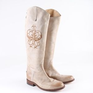 Frye Embroidered Tall Riding Boots w/Back Zipper